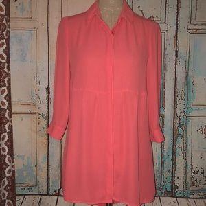 FOREVER 21~Coral 3/4Slv Hi-Low Mini Dress Tunic~XS